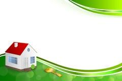 Band för illustration för ram för tangent för hus för grön guld för bakgrund abstrakt Arkivbild
