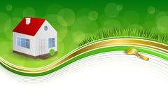 Band för illustration för ram för tangent för hus för grön guld för bakgrund abstrakt Royaltyfria Foton