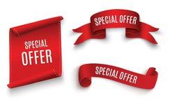 Band för specialt erbjudande röd scroll Banerförsäljningsetikett Rabatt för specialt erbjudande för marknad Royaltyfria Foton