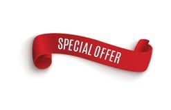 Band för specialt erbjudande röd scroll Banerförsäljningsetikett Rabatt för specialt erbjudande för marknad Arkivbilder