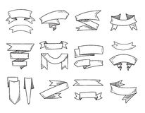 Band för tappning för vektormellanrumsklotter, hand drog retro baner vektor illustrationer