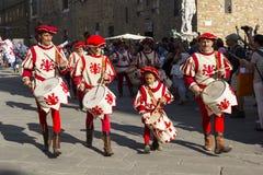 Band of flag bearers Royalty Free Stock Image