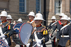 The Band of Her Majesty's Royal Marines marching through Liverpo Stock Photo