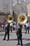 Band het spelen trommels Royalty-vrije Stock Foto's