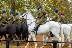 The Band of The Household Cavalry. London, UK - 31 October 2016: The Band of The Household Cavalry marching after a practice session Royalty Free Stock Images
