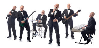 Band isolated. Band playing isolated on white Royalty Free Stock Photography