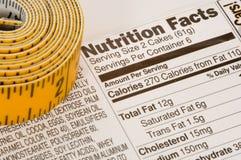 Band-Maß nahe bei Nahrung-Tatsachen Lizenzfreie Stockfotos