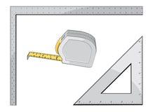 Band-Mass-Quadrat und Dreieck Stockfotos