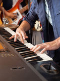 Band Member Playing Piano In Recording Studio Royalty Free Stock Photos