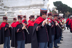 Band in military parade in Rome Stock Photo