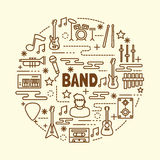 Band minimal thin line icons set. Vector illustration design elements Royalty Free Stock Image
