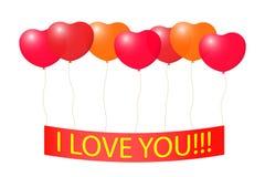 Band mit einer Liebeserklärung auf den Ballonen. Stockfotografie