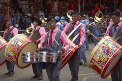 Band of a Morenada dance group at the Oruro Carnival in Bolivia Stock Photo