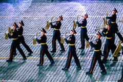 The Band of the Moscow Military Music College from Russia at the Red Square Royalty Free Stock Photos
