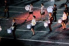 The Band of the Moscow Military Music College from Russia at the Red Square. MOSCOW, RUSSIA - AUGUST 26, 2016: Spasskaya Tower international military music Stock Photos