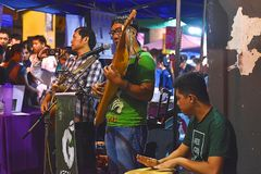 A Band Performing On The Street During The Kuching Mooncake Festival In Kuching, Sarawak royalty free stock photography