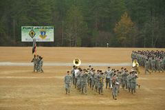 Band Moving in Front of Troops Royalty Free Stock Photos
