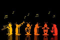 Band of Musical Rabbits Vector Royalty Free Stock Photography