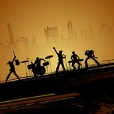 Band of Musican. Illustration of band of musican performing on cityscape backdrop Stock Images