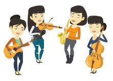 Band of musicians playing on musical instruments. Stock Photos