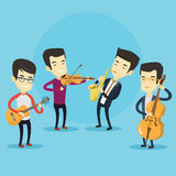 Band of musicians playing on musical instruments. Group of asian musicians playing on musical instruments. Band of musicians playing on musical instruments Stock Image