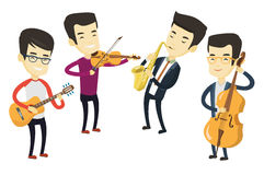 Band of musicians playing on musical instruments. Group of asian musicians playing on musical instruments. Musicians playing on musical instruments. Musicians Stock Images