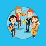 Band of musicians playing on musical instruments. Stock Images