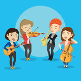 Band of musicians playing on musical instruments. Royalty Free Stock Photo