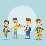 Band of musicians playing on musical instruments. Group of young musicians playing on musical instruments. Band of musicians performing with instruments Royalty Free Stock Photo