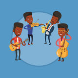 Band of musicians playing on musical instruments. Group of young african-american musicians performing with musical instruments. Vector flat design Royalty Free Stock Photo