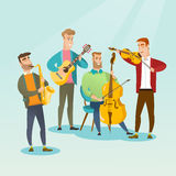 Band of musicians playing musical instruments. Royalty Free Stock Images