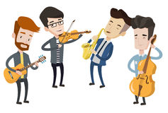 Band of musicians playing on musical instruments. Young musicians playing on instruments. Band of musicians performing with instruments. Vector flat design Royalty Free Stock Image