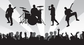 Band N Crowd. Band and crowd silhouette vectors that are individually grouped.  Can resize to ones desire Stock Photo