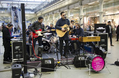 A band named Gaspard Royant perform a set at St Pancras International Station Royalty Free Stock Photo