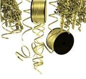 Band och banderoller för guld kulöra Arkivbild