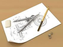 Band, pencil and compasses. 3d  render  band, pencil and compasses Stock Images