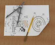 Band, pencil and compasses Royalty Free Stock Photos