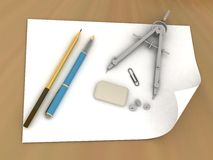 Band, pencil and compasses Royalty Free Stock Image