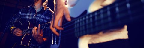 Band performing on stage. In nightclub Royalty Free Stock Image