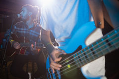 Band performing on stage. In nightclub Stock Photography