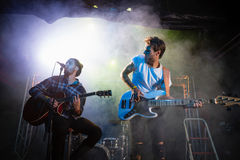 Band performing on stage. In nightclub Royalty Free Stock Photo