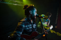 Band performing on stage. In nightclub Royalty Free Stock Images