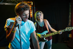 Band performing on stage Stock Photography
