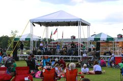 A Band Performs Onstage At The Discovery Park of America, Union City Tennessee. A Band Performs onstage during the annual fourth of July celebration at The Royalty Free Stock Image