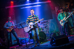 Band performs on stage Stock Image