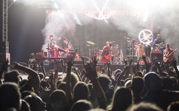 Band performs on stage, rock-pop music concert. Stock Images