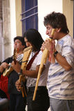 Band playing Andean music, panpipes Royalty Free Stock Photo