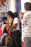 Band playing Andean music, panpipes Stock Photography