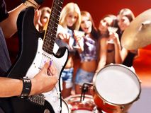 Band playing musical  instrument. Royalty Free Stock Images