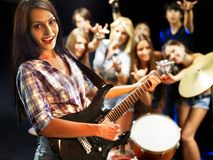 Band playing musical  instrument. Royalty Free Stock Photos